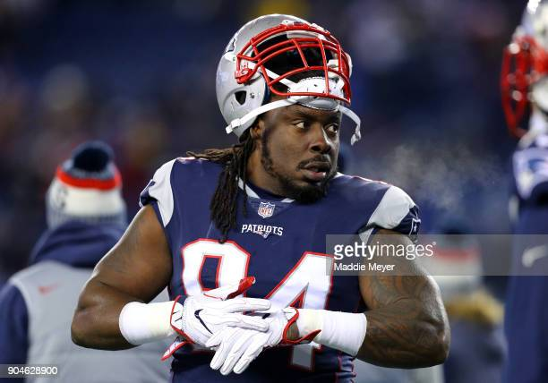 Ricky Jean Francois of the New England Patriots reacts before the AFC Divisional Playoff game against the Tennessee Titans at Gillette Stadium on...