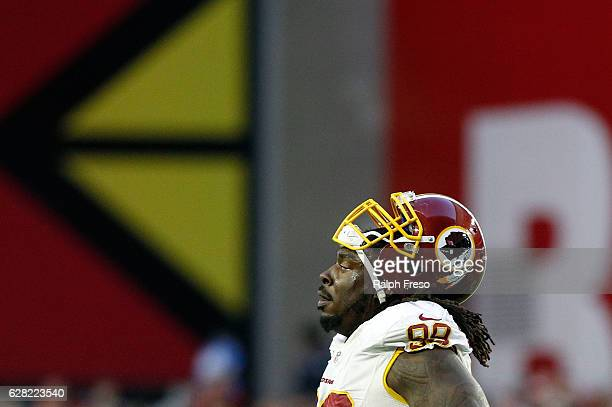 Ricky Jean Francois of the Washington Redskins looks on during the fourth quarter of a game against the Arizona Cardinals at University of Phoenix...