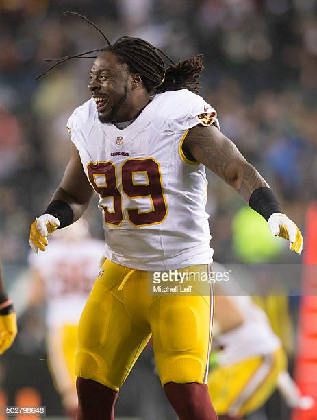 Ricky Jean Francois of the Washington Redskins reacts in the game against the Philadelphia Eagles on December 26 2015 at Lincoln Financial Field in...
