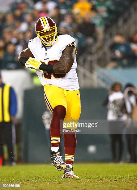 Ricky Jean Francois of the Washington Redskins reacts to his sack of quarterback Sam Bradford of the Philadelphia Eagles in the fourth quarter of a...