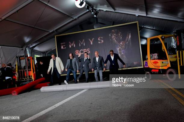 Ricky Kirshner Glenn Weiss Stephen Colbert Hayma Washington attend the 69th Emmy Awards Red Carpet Rollout and Press Preview Day at Microsoft Theater...