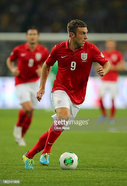 Ricky Lambert of England runs with the ball during the FIFA 2014 World Cup Qualifying Group H match between Ukraine and England at the Olympic...