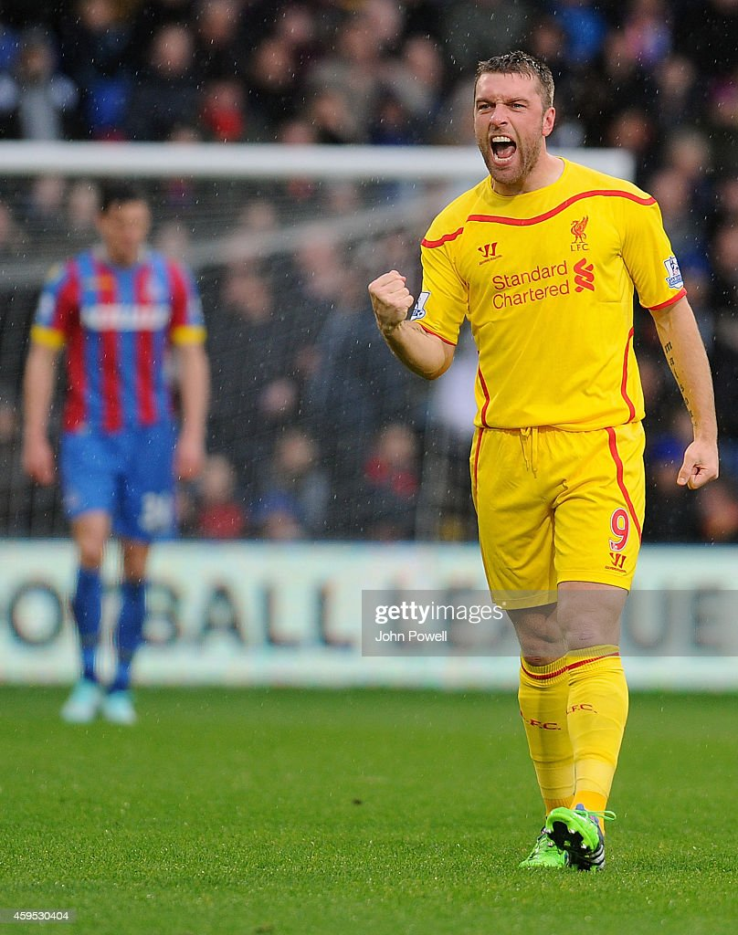 Ricky Lambert of Liverpool celebrates after scoring the opening goal during the Barclays Premier League match between Crystal Palace and Liverpool at Selhurst Park on November 23, 2014 in London, England.