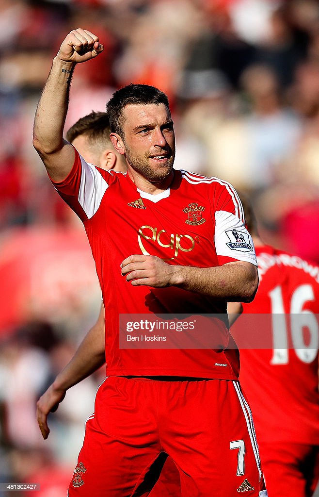 Ricky Lambert of Southampton celebrates after scoring his team's second goal of the game during the Barclays Premier League match between Southampton and Newcastle United at St Mary's Stadium on March 29, 2014 in Southampton, England.