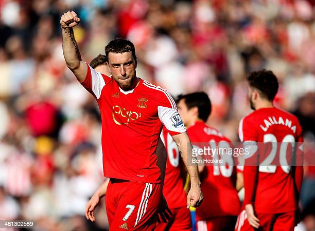 Ricky Lambert of Southampton celebrates after scoring his team's second goal of the game during the Barclays Premier League match between Southampton...
