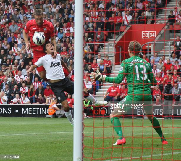 Ricky Lambert of Southampton scores their first goal during the Barclays Premier League match between Southampton and Manchester United at St Mary's...