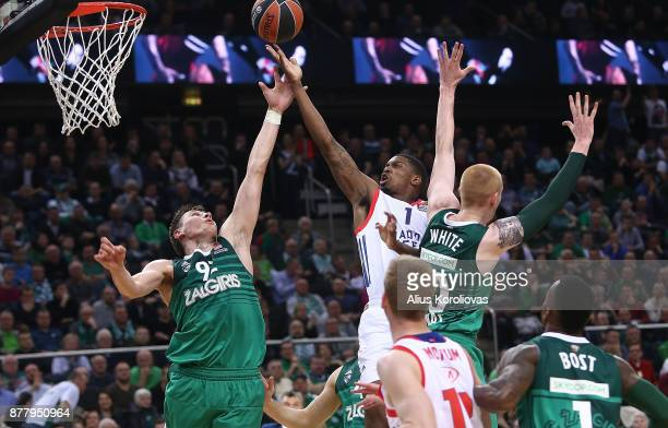 Ricky Ledo #1 of Anadolu Efes Istanbul competes with Edgaras Ulanovas #92 of Zalgiris Kaunas in action during the 2017/2018 Turkish Airlines...