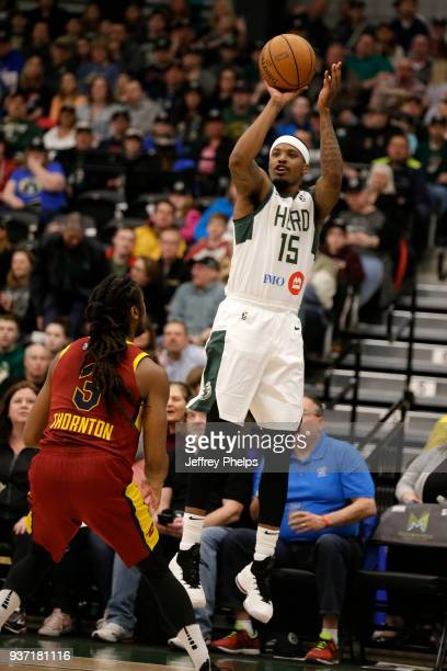 Ricky Ledo of the Wisconsin Herd shoots the ball against the Canton Charge during the NBA GLeague game on March 23 2018 at the Menominee Nation Arena...
