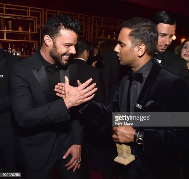 Ricky Martin and Aziz Ansari attend the Netflix Golden Globes after party at Waldorf Astoria Beverly Hills on January 7 2018 in Beverly Hills...