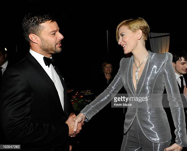 NEW YORK JUNE 13 Ricky Martin and Cate Blanchett in the audience at the 64th Annual Tony Awards at Radio City Music Hall on June 13 2010 in New York...