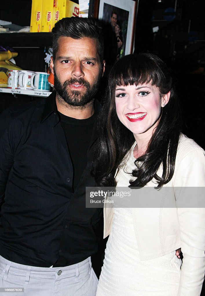 Ricky Martin and Celina Carvajal pose backstage at the hit musical 'Kinky Boots' on Broadway at The Al Hirshfeld Theater on April 17, 2013 in New York City.