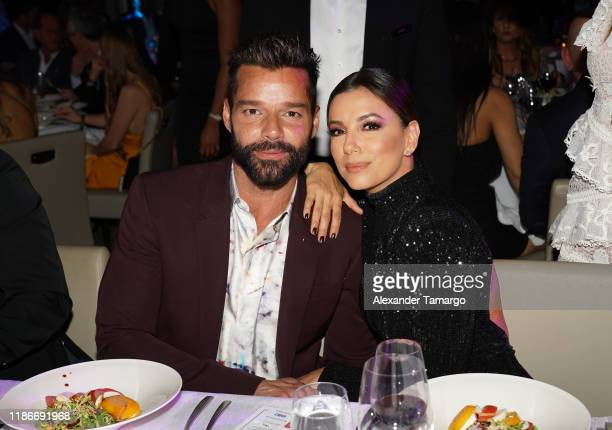 Ricky Martin and Eva Longoria are seen at the Global Gift Gala during Art Basel 2019 at the Eden Roc Hotel on December 5 2019 in Miami Beach Florida