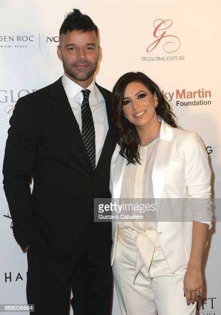 Ricky Martin and Eva Longoria attends the Art Basel Miami Beach 2017 The Global Gift Foundation USA Benefit Hurricane Relief Efforts In Puerto Rico...