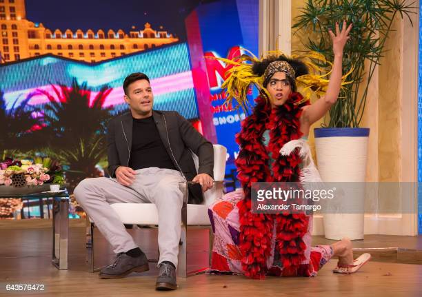 Ricky Martin and Francisca Lachapel are seen on the set of Despierta America at Univision Studios on February 21 2017 in Miami Florida