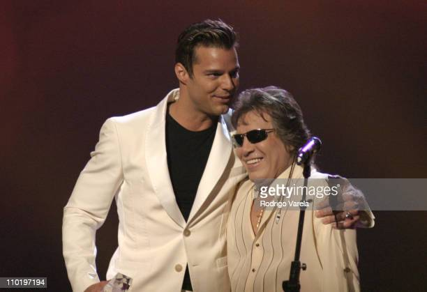 Ricky Martin and Jose Feliciano during 2004 Premio Lo Nuestro Show at Miami Arena in Miami Florida United States