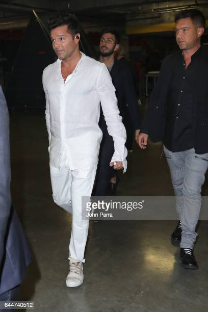 Ricky Martin and Jwan Yosef are seen backstage of Univision's 29th Edition of Premio Lo Nuestro A La Musica Latina at the American Airlines Arena on...