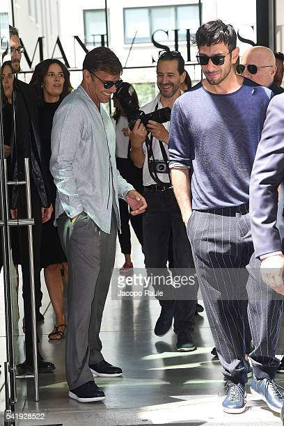 Ricky Martin and Jwan Yosef arrive at the Giorgio Armani show during Milan Men's Fashion Week Spring/Summer 2017 on June 21 2016 in Milan Italy