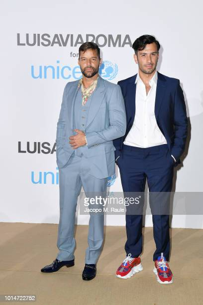Ricky Martin and Jwan Yosef attend a photocall for the Unicef Summer Gala Presented by Luisaviaroma at Villa Violina on August 10 2018 in Porto Cervo...