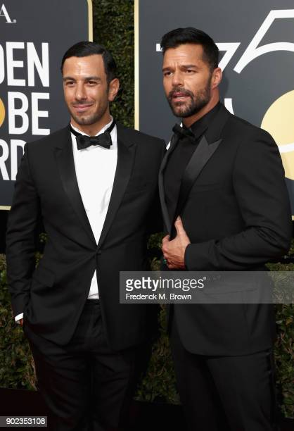 Ricky Martin and Jwan Yosef attend The 75th Annual Golden Globe Awards at The Beverly Hilton Hotel on January 7 2018 in Beverly Hills California