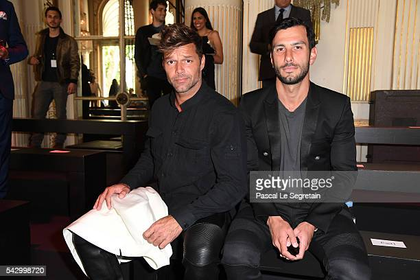 Ricky Martin and Jwan Yosef attend the Balmain Menswear Spring/Summer 2017 show as part of Paris Fashion Week on June 25 2016 in Paris France