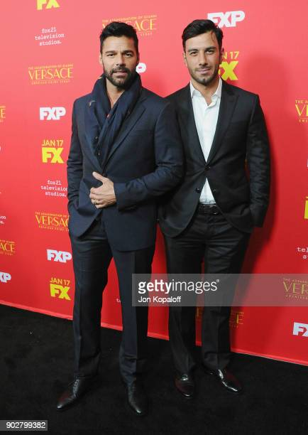 Ricky Martin and Jwan Yosef attend the Los Angeles Premiere 'The Assassination Of Gianni Versace American Crime Story' at ArcLight Hollywood on...