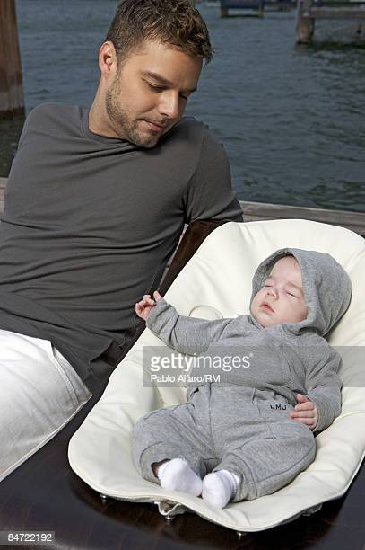 Ricky Martin and son Matteo Martin pose for a photo on November 19, 2008 in San Juan, Puerto Rico.