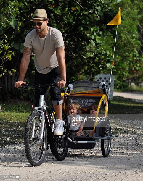 Ricky Martin and sons Matteo Martin and Valentino Martin are seen on May 27 2010 in Miami Florida