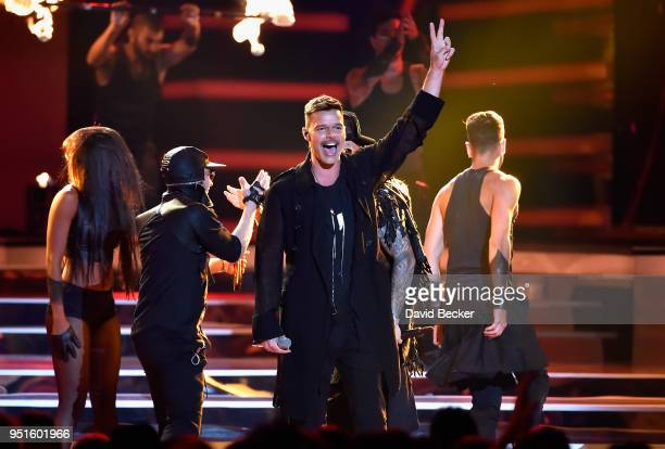Ricky Martin and Wisin Y Yandel performs onstage at the 2018 Billboard Latin Music Awards at the Mandalay Bay Events Center on April 26 2018 in Las...