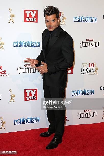 Ricky Martin arrives at the 57th Annual Logie Awards at Crown Palladium on May 3 2015 in Melbourne Australia