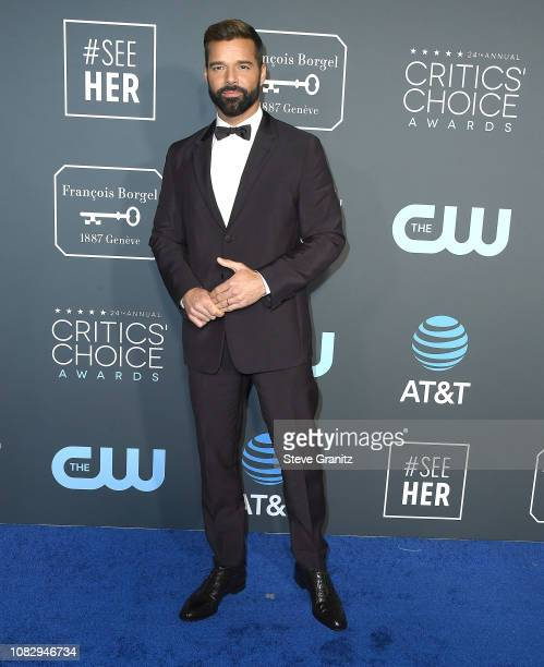 Ricky Martin arrives at the The 24th Annual Critics' Choice Awards attends The 24th Annual Critics' Choice Awards at Barker Hangar on January 13 2019...