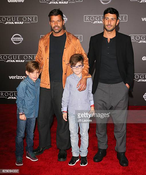 Ricky Martin artist Jwan Yosef and sons Matteo Martin and Valentino Martin attend the Premiere of Walt Disney Pictures and Lucasfilm's 'Rogue One A...