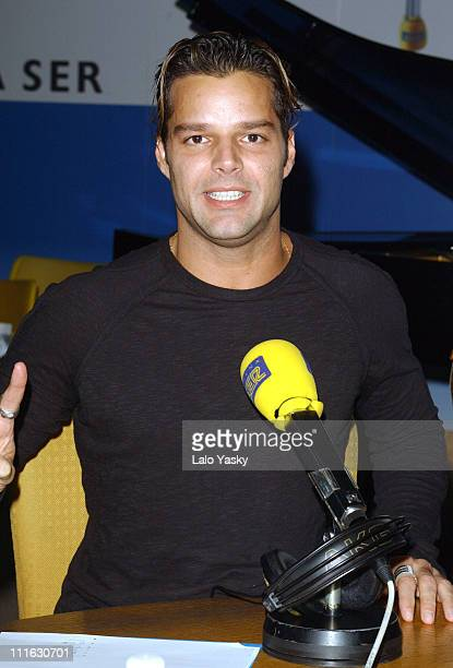 Ricky Martin Attends Several FM Radio Interviews at '40 Principales' and 'Cadena Dial' Stations at the SER Studios in Madrid