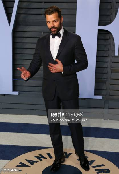 Ricky Martin attends the 2018 Vanity Fair Oscar Party following the 90th Academy Awards at The Wallis Annenberg Center for the Performing Arts in...