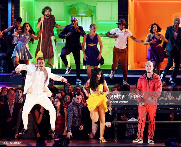 Ricky Martin Camila Cabello and J Balvin perform onstage during the 61st Annual GRAMMY Awards at Staples Center on February 10 2019 in Los Angeles...