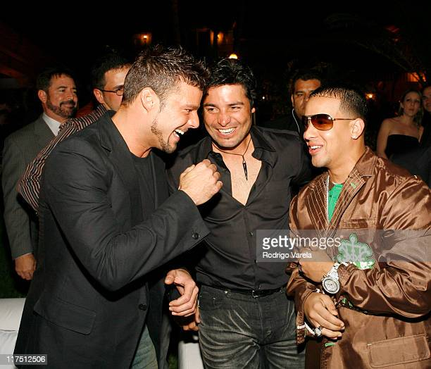 Ricky Martin Chayanne and Daddy Yankee during Spanish Broadcasting System's StarStudded Mega TV Launch Party March 4 2006 in Bal Harbour Florida...