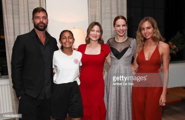 Ricky Martin, Goleadoras Captain Sara Villacres, Julie Larson-Green, Eglantina Zingg and Laura Santos attend GOLEADORAS Celebrates United Nations...