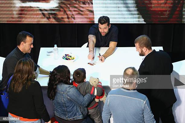 Ricky Martin greets fans during a media call with Ricky Martin at Westfield Hurstville on July 17 2014 in Sydney Australia