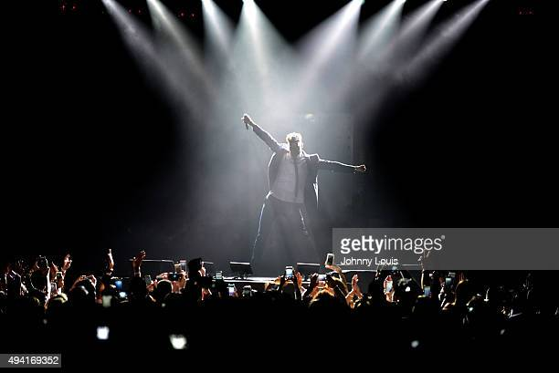 Ricky Martin is seen performing during his concert at American Airlines Arena on October 24 2015 in Miami Florida