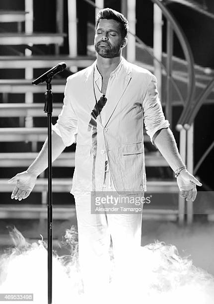 Ricky Martin is seen performing during the Nuestra Belleza Latina Grand Finale at Univision Studios on April 12 2015 in Miami Florida
