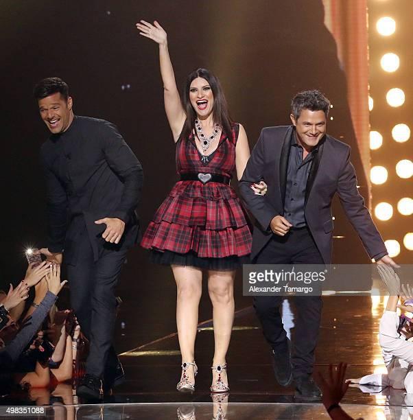 Ricky Martin Laura Pausini and Alejandro Sanz are seen on the set of the reality show La Banda at Univision Studios on November 22 2015 in Miami...
