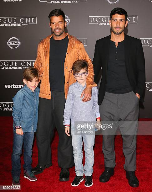 Ricky Martin Matteo Martin Jwan Yosef and Valentino Martin attend the Premiere of Walt Disney Pictures and Lucasfilm's 'Rogue One A Star Wars Story'...
