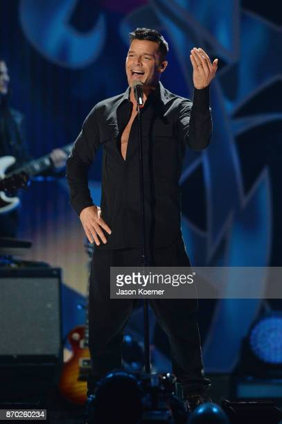 Ricky Martin performs onstage during the iHeartRadio Fiesta Latina Celebrating Our Heroes at American Airlines Arena on November 4 2017 in Miami...