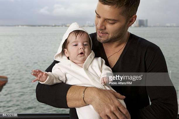 Ricky Martin poses with his son Valentino Martin pose on November 12, 2008 in Miami, Florida.