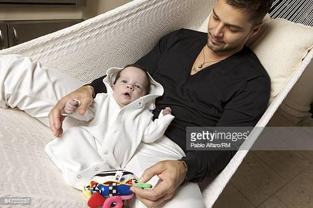 Ricky Martin poses with son Matteo Martin on November 12, 2008 in Miami, Florida.