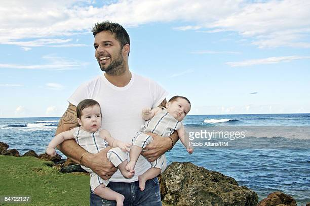 Ricky Martin poses with sons Valentino Martin and Matteo Martin on November 19 2008 in San Juan Puerto Rico