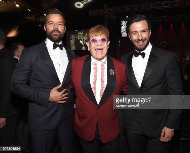 Ricky Martin Sir Elton John and Jwan Yosef attend the 26th annual Elton John AIDS Foundation Academy Awards Viewing Party sponsored by Bulgari...