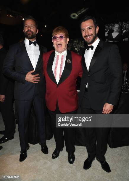 Ricky Martin Sir Elton John and Jwan Yosef attends Elton John AIDS Foundation 26th Annual Academy Awards Viewing Party at The City of West Hollywood...