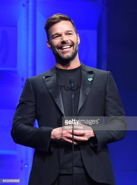 Ricky Martin speaks onstage at the 29th Annual GLAAD Media Awards at The Beverly Hilton Hotel on April 12 2018 in Beverly Hills California
