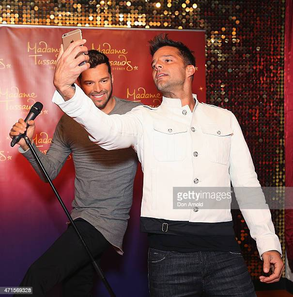 Ricky Martin takes a selfie of his wax figure at Madame Tussauds on April 30 2015 in Sydney Australia