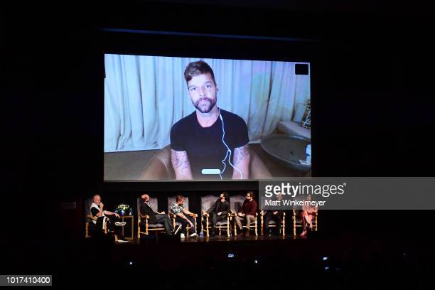 Ricky Martin video calls in as Ryan Murphy Brad Simpson Tom Rob Smith Darren Criss Edgar Ramirez Finn Wittrock and Alexis Martin Woodall attend the...